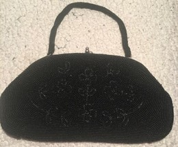 Vintage Julius Garfinckel Washington DC Beaded Purse Bag Metal Kiss Clas... - $75.00