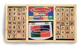 Kids Wooden Alphabet Stamp Set Washable Non Toxic Inks 56 Block Style St... - $31.28
