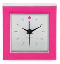 "Kate Spade Cross Pointe Clock Hot Pink Enamel 3.5"" Square New In Box - $124.90"
