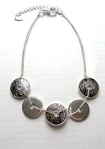 """20"""" Alfani SilverTone Chain Necklace Round Disks Silver & Iridescent Sna... - $7.00"""