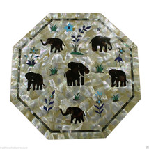 "18"" Marble Coffee Table Top Mother Of Pearl Jasper Elephant Art Handicra... - $1,378.45"