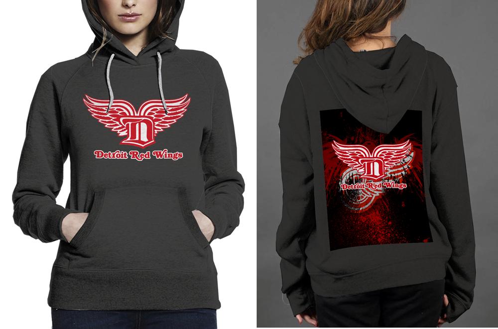 New    detroit red wings classic black women s hoodie