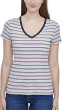 Tommy Hilfiger Women's Short Sleeve V-Neck T-Shirt  (Porc Multi, X-Large) - $17.99