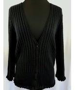 Black Knit Cardigan Sweater Ribbed Scalloped Wrists and Hemline Size L - $37.95