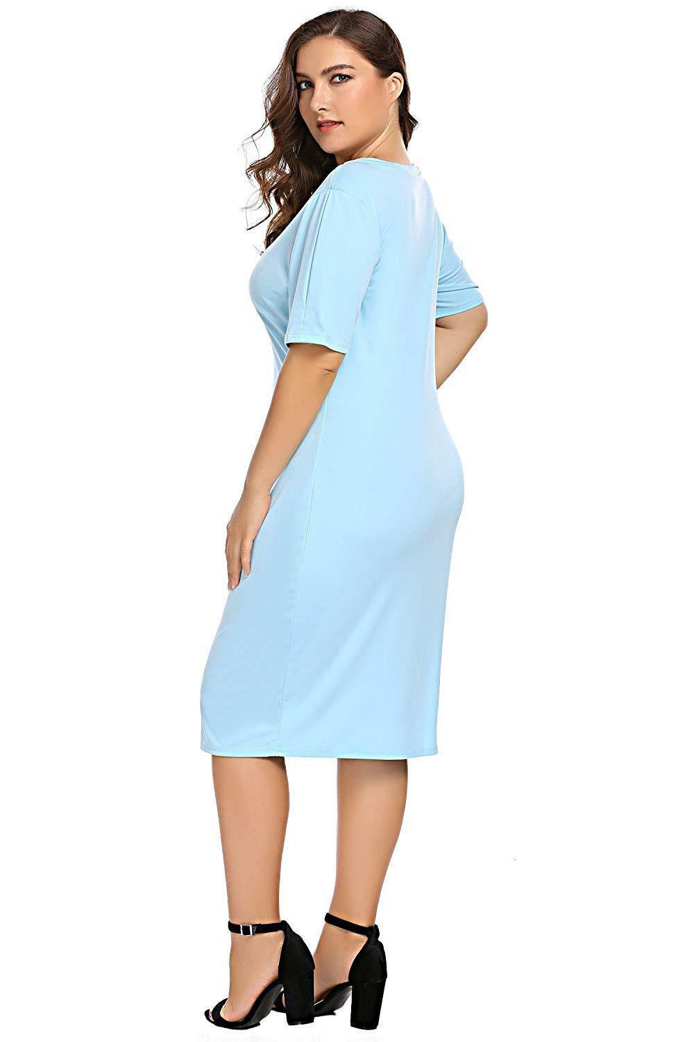Zeagoo Women Plus Size Loose Fit Short Sleeve O-Neck Casual Midi Dress image 4