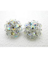 Vintage LAGUNA Aurora Borealis Clear Crystal Cluster Round Clip Earrings - $19.80