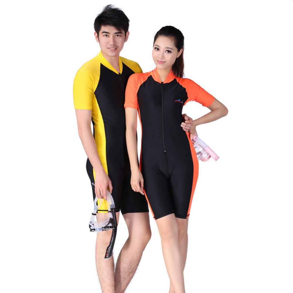 Unisex Snorkeling Wetsuit Rash Guard Surfing Surf Piece Swimwear Size S-XXL New - $21.80