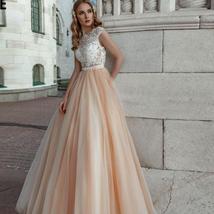 Peach Beach Wedding Dresses Cap Sleeve Lace Appliques Soft Tulle Boho Princess W image 1