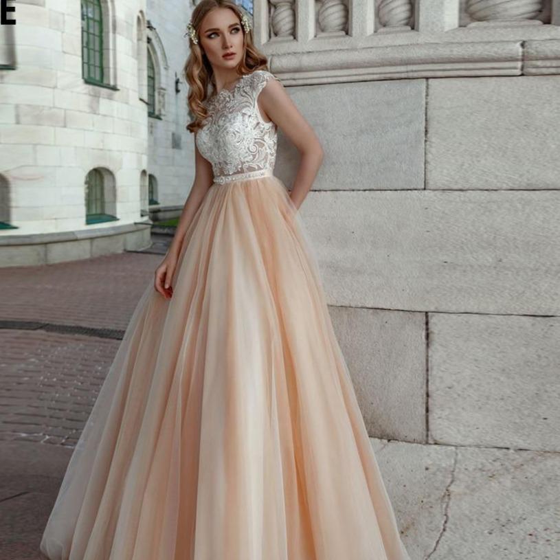 Peach beach wedding dresses cap sleeve 2020 appliques lace bridal gowns soft tulle boho princess