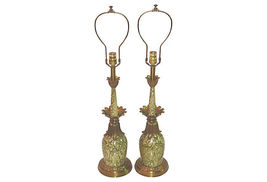 Hollywood Regency Stiffel Green and Brass Lamps-A Pair - $1,550.00
