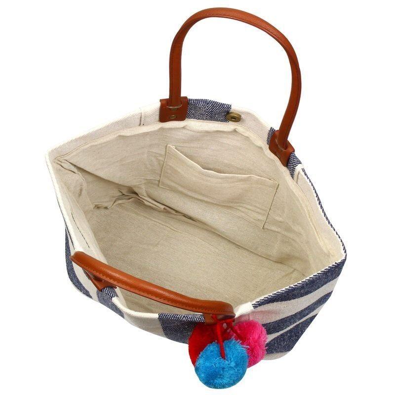 ST20P Striped Navy Canvas Pom Pom Large Shopper Handbag Weekender Tote