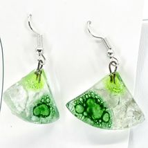 Handmade Recycled Fused Glass Green Triangle Drop Hook Earrings Made Ecuador image 3