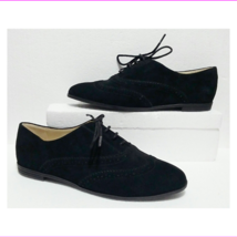 Isaac Mizrahi 'Fiona' Black Suede Lace Up Wingtip Oxford Flats 6M - $38.00 CAD