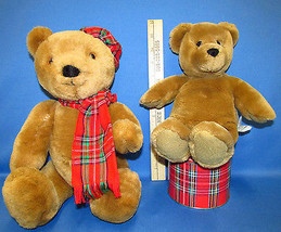 1984 Dakin Jointed Teddy Bear Red Outfit & Hallmark Bear Red Plaid Tin Lot of 3 - $28.21
