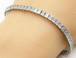 925 Silver - Vintage Square Cut Cubic Zirconia Sparkling Tennis Bracelet... - $47.78