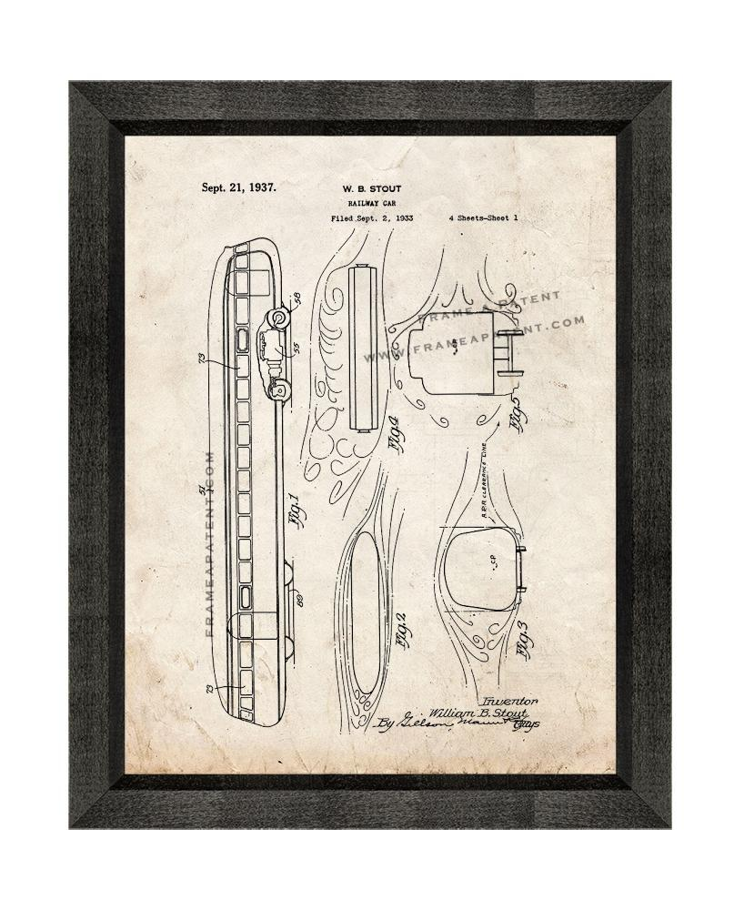 Primary image for Railway Car Patent Print Old Look with Beveled Wood Frame