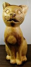 Adorable Vintage Hand Carved Cat Figurine - £17.48 GBP