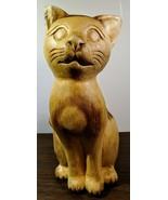 Adorable Vintage Hand Carved Cat Figurine - $21.78