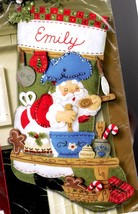 Bucilla Santa Chef Baking Cookies Christmas Eve Holiday Felt Stocking Kit 85435 - $122.95