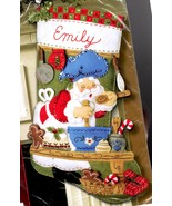 Bucilla Santa Chef Baking Cookies Christmas Eve Holiday Felt Stocking Ki... - $122.95
