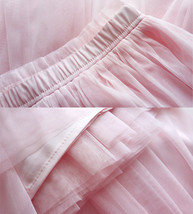 LIGHT PINK Full Length Tulle Skirt Plus Size High Waist Pink Tulle Skirt image 7