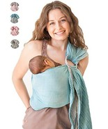 Baby Wrap Carrier Ring Sling-Luxury Extra Soft Turkish Cotton Muslin Gre... - $49.29