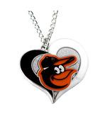 MLB Sports Team Logo Baltimore Orioles Swirl Heart Necklace - $8.99