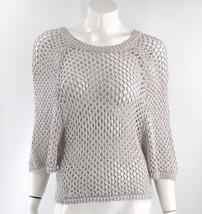 BCBG Max Azria Poncho Style Sweater Size XXS Gray Open Knit Attached Sle... - $19.80