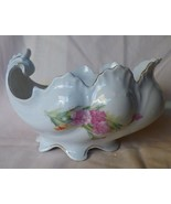 Victorian SAUCE GRAVY BOAT Austrian or German Carnations Gilt Scallops B... - $85.00