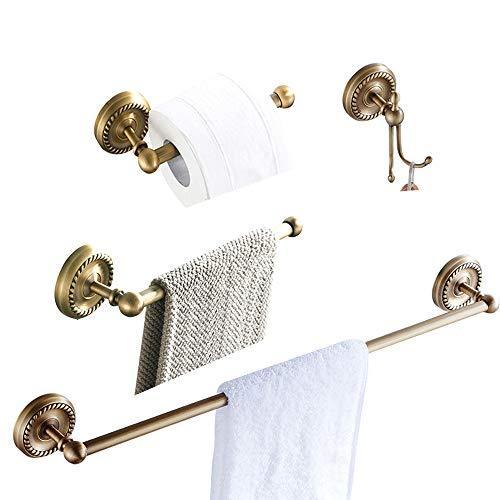 BATHSIR Antique Brass Series 4 Piece Bathroom Hardware Set Includes Towel Bar,Sh