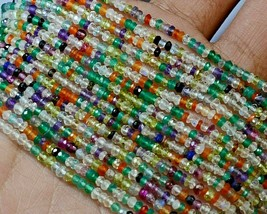 "Z-0332 Mix Quartz Gemstone Natural Rondelle Faceted Loose Beads 2mm 13"" ... - $12.86"