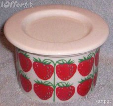 SCANDINAVIAN(FINNISH) MODERN-ARABIA POMONA MANSIKKA (STRAWBERRY) JAM POT - $79.95