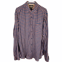 Banana Republic Camden Fit Button Shirt XL Navy Blue Pink Check 100% Linen - $24.65