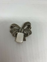 Vintage Marcasite Mother Of Pearl Deco Pin Broach 925 Sterling Silver - $122.76