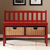 Southern Enterprises - BC9518 - Bench W/Storage Baskets-Red Bc9518 New - £180.62 GBP