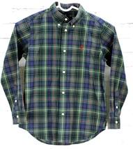 Ralph Lauren Button Down Shirt Green Blue Plaid 100% Cotton Boys Size 7 - $28.71
