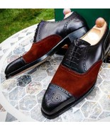 Men's Red Suede & Black Leather Oxford Cap Toe Laceup Leather Shoes Made... - $149.99+