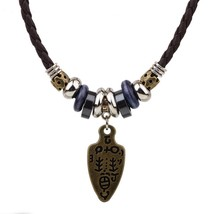 Brown Vintage Braided Leather Tribal Sword Necklace - £13.58 GBP