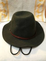 Men's Stetson Cromwell Wool Felt Crushable Water Repellent Olive Hat XL - $53.22