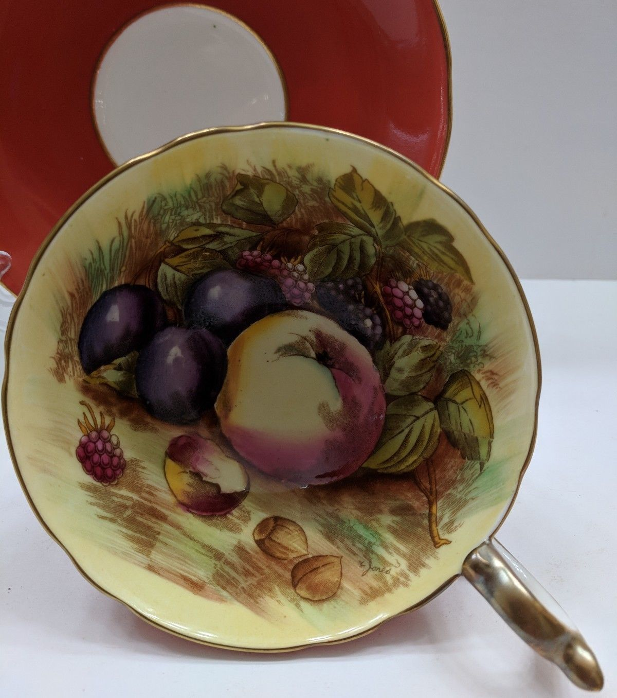 Aynsley England Tea Cup And Saucer Orchard Fruits Signed D. Jones Orange image 2
