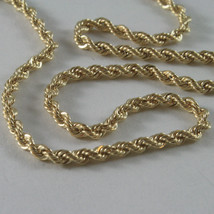 9K YELLOW GOLD ROPE CHAIN, 15.75, BRAID ROPE CORD, NECKLACE, MADE IN ITALY, 9KT image 2