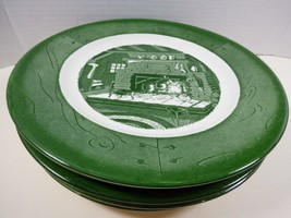 """VTG by Royal China Colonial Homestead green set of 6 plates 10"""" dinner - $43.56"""
