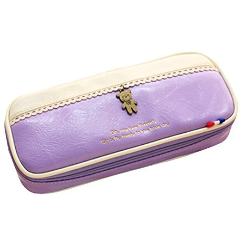 Primary image for Original Pen/Pencil Case Cosmetic Bags Large Capacity White/Purple, 2048.5 cm