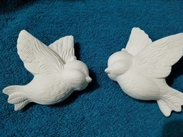 Ceramic bisque ready to paint, 2 hanging birds, unfinished, u-paint - $7.92