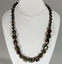 """Gunmetal Metallic Green, Purple and Gold Shapes Graduated Necklace 22.5""""... - $11.87"""
