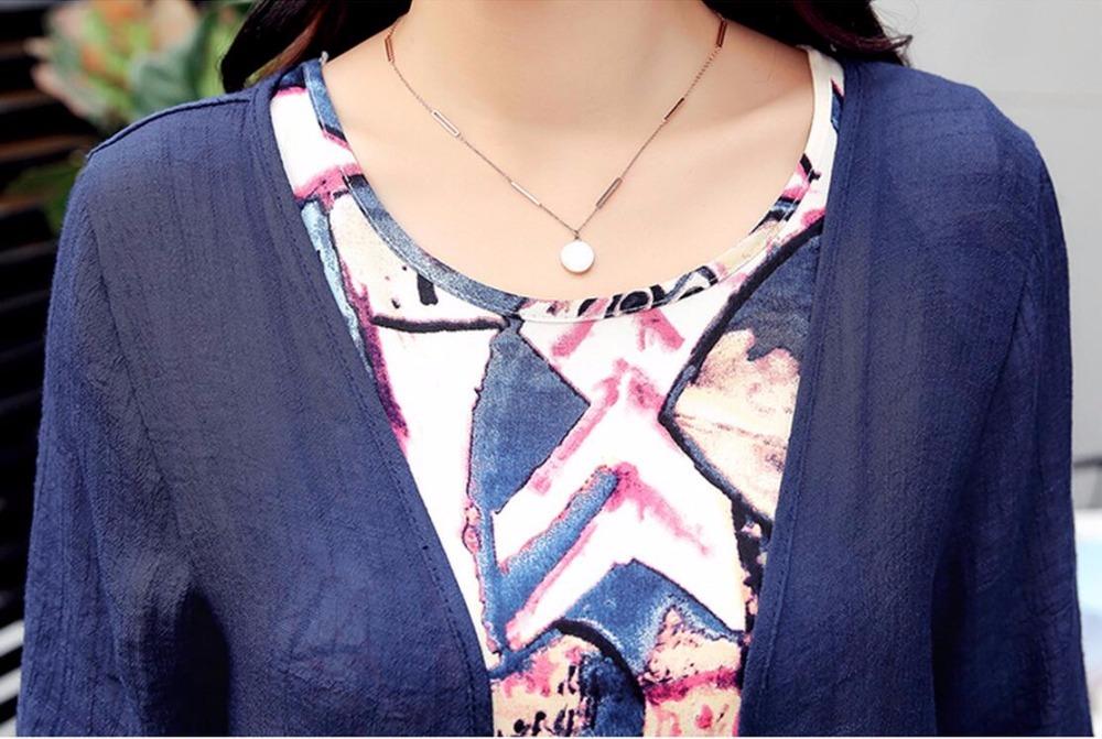 Saiqigui  Summer dress women dress casual Loose tow piece Cotton Line dress Prin image 4