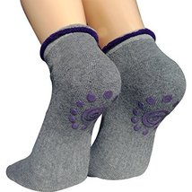 Lantee Non Slip Skid Yoga Pilates Socks with Grips Cotton for Women, Grey - $187,24 MXN