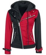 Women's Psychotic Harley Quinn Red & Black Biker Cotton Hoodie Jacket - $64.99
