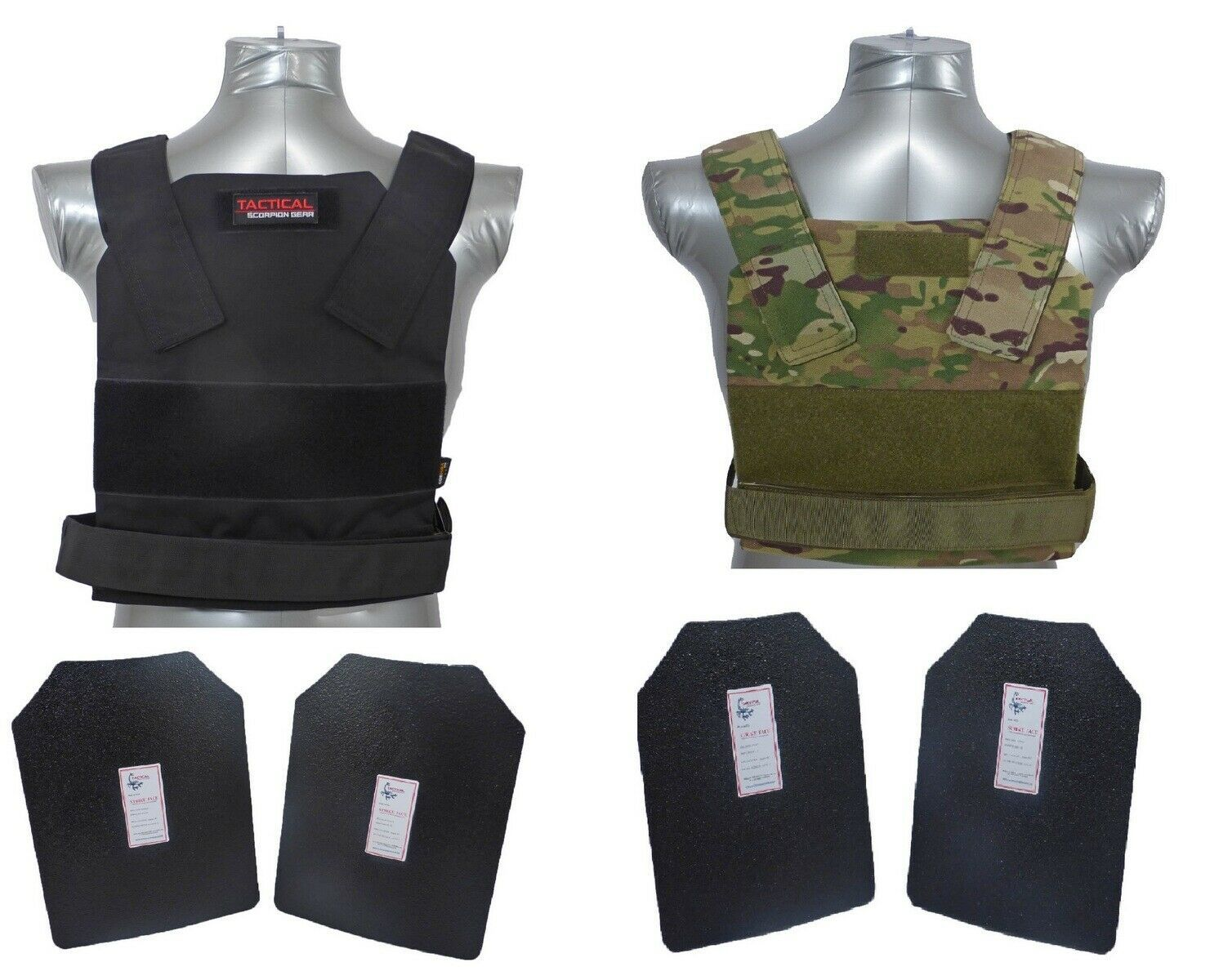 AR500 Body Armor Plates 11x14 Muircat Vest Tactical Scorpion 4Pc Level III+