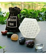 "Selenite 3"" Hexagon Engraved Flower of  Life/Chakra Stones Kit  w/Pouch ... - $26.72"